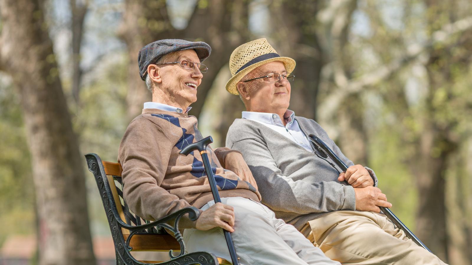 Två äldre män sitter på en parkbänk