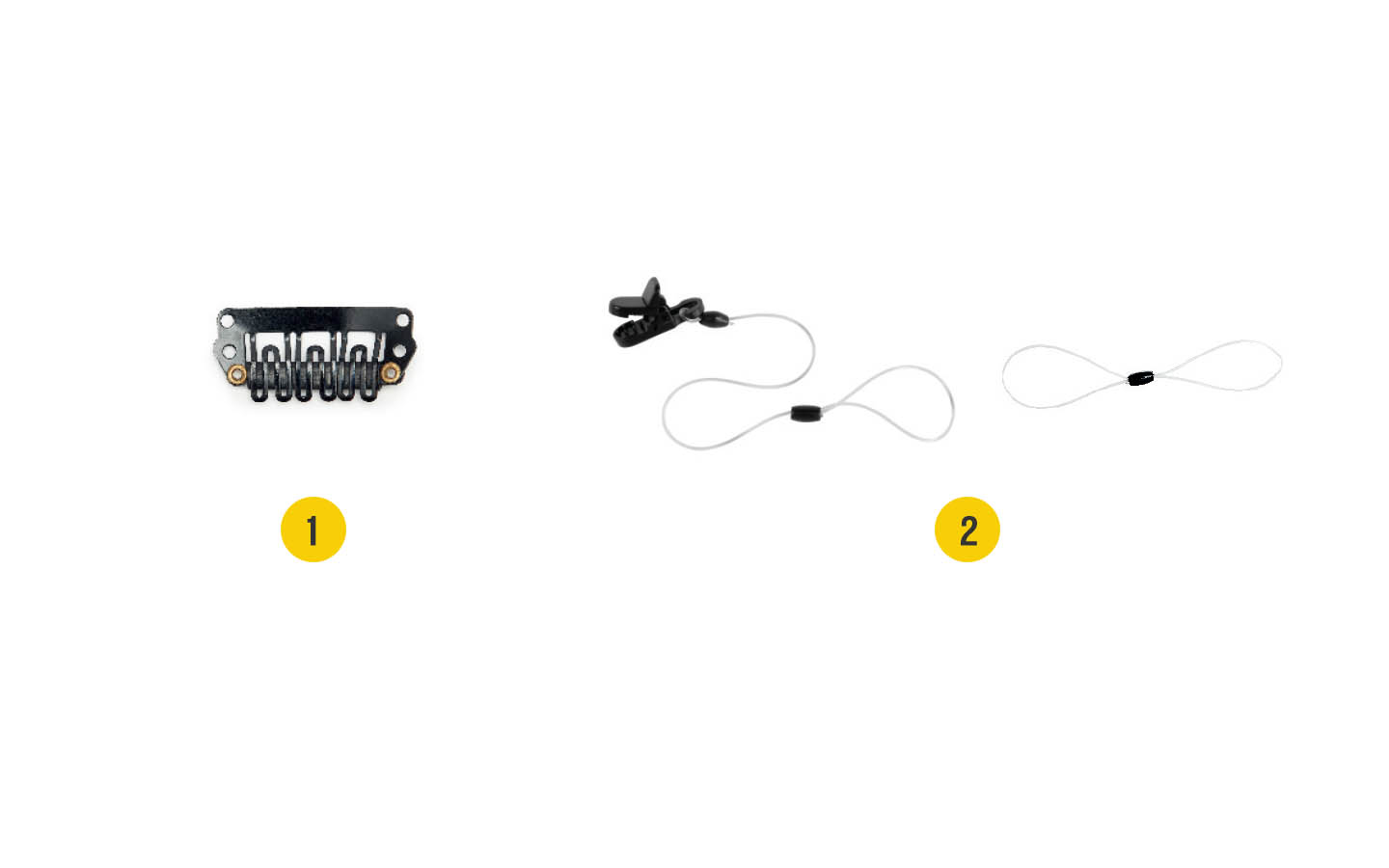 Image of the accessories for the Nucleus Kanso Sound Processor: 1. Alligator Clip with long safety line, 2. Hair Clip with short safety line