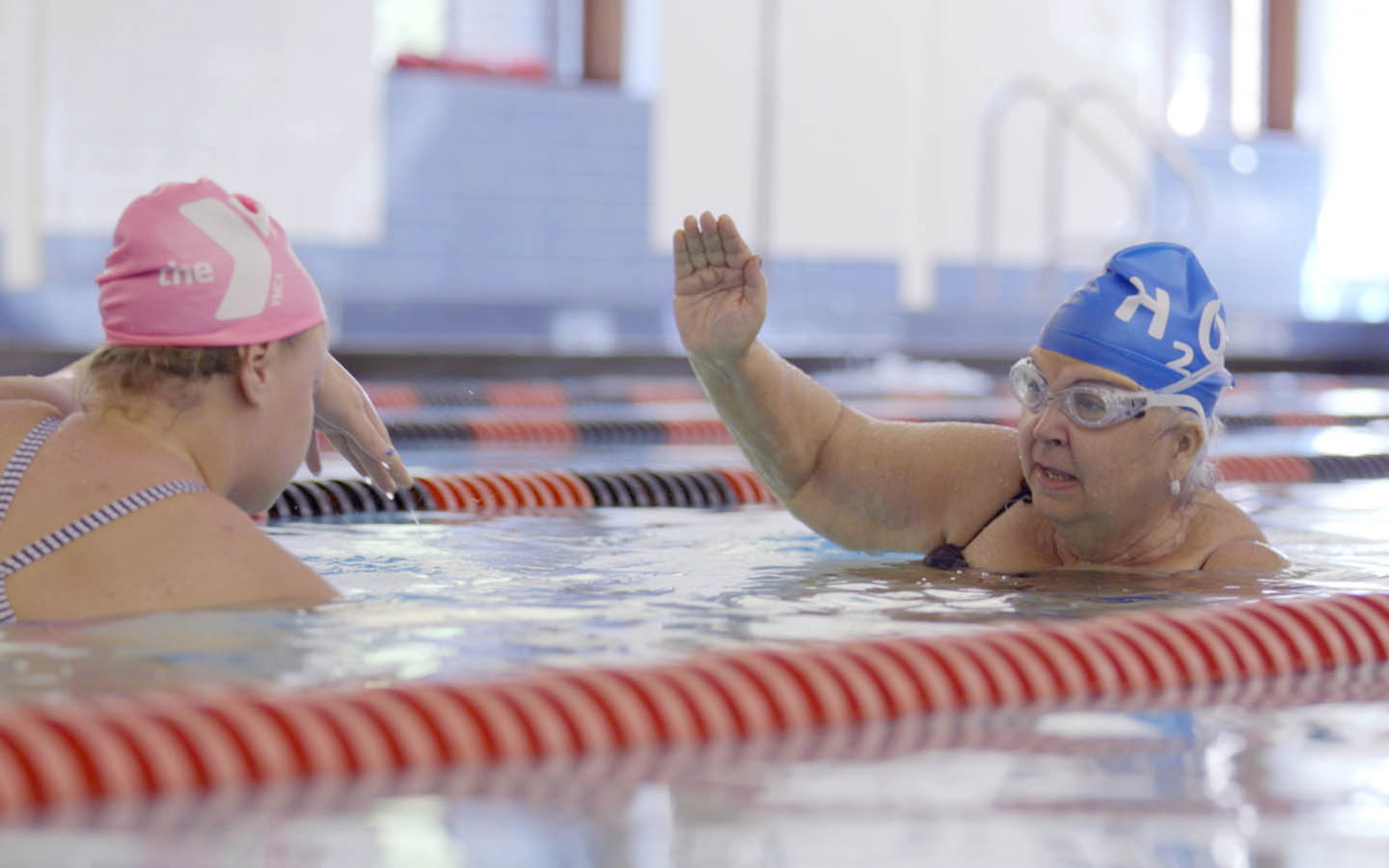 US Cochlear implant recipient Mary Grace learns to swim